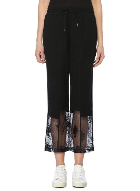 McQ Alexander McQueen Yüksek Bel Paçaları Dantelli Pantolon Siyah